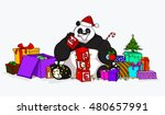 christmas sale panda with a lot ... | Shutterstock .eps vector #480657991