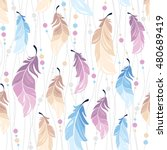 seamless pattern with feathers... | Shutterstock .eps vector #480689419