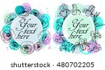 floral frame collection. set of ... | Shutterstock .eps vector #480702205