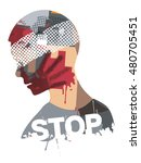 stop violence and war.  human... | Shutterstock .eps vector #480705451