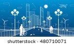 city scene. street lights.... | Shutterstock .eps vector #480710071