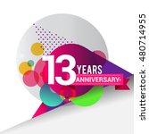 13 years anniversary logo with... | Shutterstock .eps vector #480714955