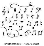 set of music notes vector  | Shutterstock .eps vector #480716005