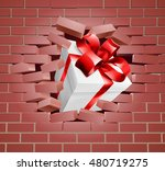 a gift with red ribbon and bow... | Shutterstock . vector #480719275
