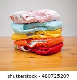 Stack Of Eco Cloth Diapers On ...