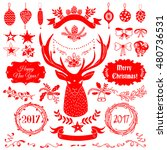 vector christmas and new year... | Shutterstock .eps vector #480736531