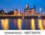 night city view of amsterdam... | Shutterstock . vector #480736924