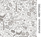 food. sausages seamless pattern....   Shutterstock .eps vector #480739381