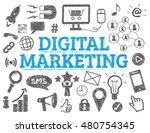 digital marketing doodle icons. ... | Shutterstock .eps vector #480754345