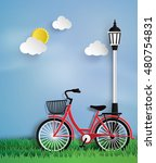 bicycle in the garden with lamp ... | Shutterstock .eps vector #480754831