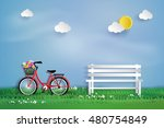 bicycle in the garden with ... | Shutterstock .eps vector #480754849