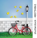 bicycle in the garden with the... | Shutterstock .eps vector #480754861