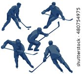 silhouettes hockey players ... | Shutterstock .eps vector #480754975