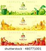 farmers market fruit and... | Shutterstock .eps vector #480771001