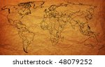 old political map of world with ... | Shutterstock . vector #48079252