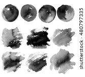 set of ink spots painted on a... | Shutterstock . vector #480797335