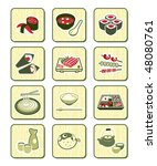 traditional japanese food icons ...