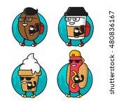 cartoon cool coffee bean  paper ... | Shutterstock .eps vector #480836167