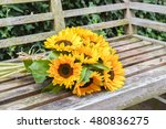 bouquet of fresh sunflowers on... | Shutterstock . vector #480836275