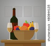 wine  fruit and glasses  is on... | Shutterstock .eps vector #480844135