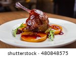 duck confit on white plate ... | Shutterstock . vector #480848575