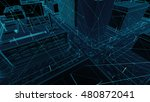 abstract 3d city rendering with ... | Shutterstock . vector #480872041