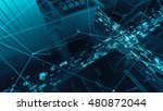 abstract 3d city rendering with ... | Shutterstock . vector #480872044