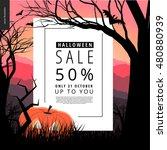 halloween sale notice... | Shutterstock .eps vector #480880939
