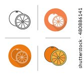 orange flat design  linear and... | Shutterstock . vector #480886141