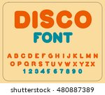 disco font. retro alphabet.... | Shutterstock .eps vector #480887389