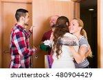 happy couple welcomes friends...   Shutterstock . vector #480904429