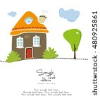 house with small garden vector... | Shutterstock .eps vector #480925861