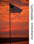 """us flag with dramatic """"fire sky""""... 