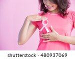 happy woman show pink ribbon ... | Shutterstock . vector #480937069