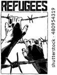 refugee men and fence. refugee...   Shutterstock .eps vector #480954319
