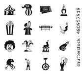 circus entertainment icons set... | Shutterstock .eps vector #480957919
