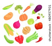 vegetable icons set in cartoon... | Shutterstock .eps vector #480957931