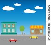 city street flat design | Shutterstock .eps vector #480963601
