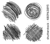 set of hand drawn scribble... | Shutterstock . vector #480963895