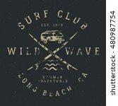 surfing tee design in vintage...   Shutterstock . vector #480987754