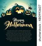 spooky halloween night with... | Shutterstock .eps vector #480993607