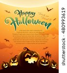 spooky halloween night with... | Shutterstock .eps vector #480993619