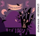 purple halloween castle with a... | Shutterstock .eps vector #481000615
