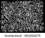 vector line art doodle cartoon... | Shutterstock .eps vector #481006675