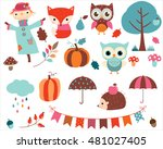 autumn set of cute vector... | Shutterstock .eps vector #481027405