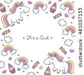 vector cartoon cute unicorns... | Shutterstock .eps vector #481037155