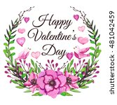 valentines card with watercolor ... | Shutterstock . vector #481042459