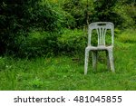 old plastic chairs in the garden | Shutterstock . vector #481045855