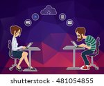 remote work on project... | Shutterstock .eps vector #481054855