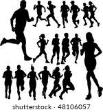 running people set vector | Shutterstock .eps vector #48106057